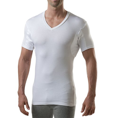 Sweatproof Undershirt for Men with Underarm Sweat Pads (Slim Fit, V-Neck) White