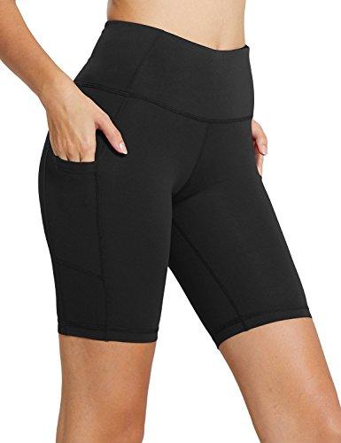 BALEAF Women's 8' High Waist Biker Workout Yoga Running Compression Exercise Shorts Side Pockets Black Size S