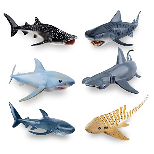 TOYMANY 6PCS 5-8' L Realistic Shark Bath Toy Figurines, Plastic Ocean Sea Animals Figures Set Includes Whale Shark,Tiger Shark,Mako Shark, Cake Toppers Christmas Birthday Gift for Kids Toddlers