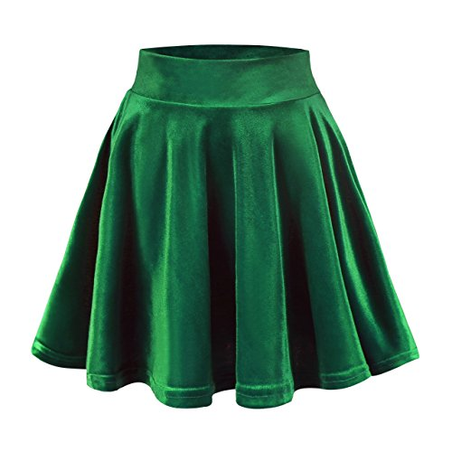 Urban CoCo Women's Vintage Velvet Stretchy Mini Flared Skater Skirt (XL, Dark Green)