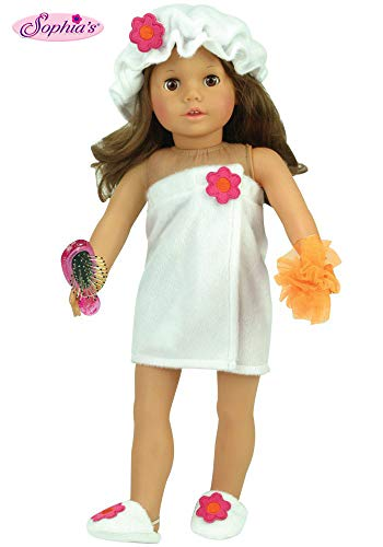18 Inch Doll Clothes 4 Pc. Shower Set, Doll Bath Set Fits American Girl 18 Inch Dolls & More! Includes Doll Hairbrush, Sponge, Shower Cap & Soft White Towel Wrap