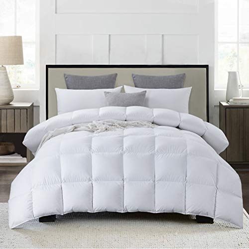 Luxurious 116'x108' Oversized King Goose Feather Down Comforter King Size Duvet Insert, 67 oz Filling, 600+ Cleanliness,100% Cotton Shell Down Proof with 8 Corner Tabs Hypoallergenic All Seasons
