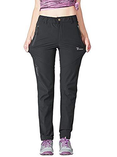 Rdruko Women's Outdoor Lightweight Quick Dry Sportswear Water Resistant Hiking Pants with Pockets(Black, US M)