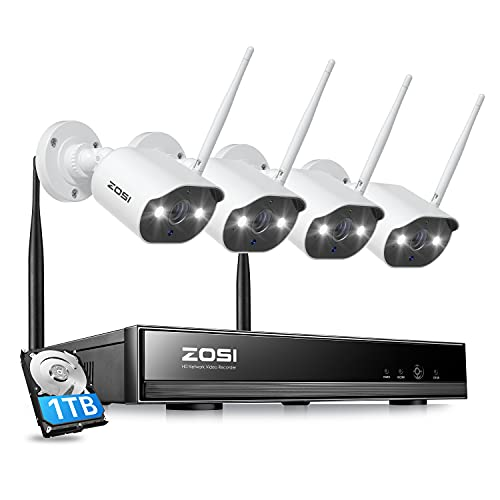 ZOSI W4 Home Mesh WiFi Security Camera System with 1TB Hard Drive,H.265+ 1080P 8CH NVR,4pcs 1080P Outdoor Wireless IP Camera,Color Night Vision,Light &Siren Alarm,AI Human Detection,Two Way Audio
