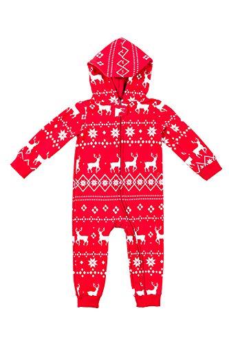 Youth Fair Isle Red Reindeer Cozy Jumpsuit - Cozy Kids PJs: Medium