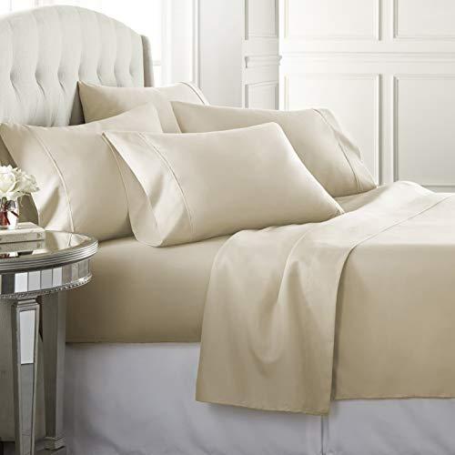 6 Piece Hotel Luxury Soft 1800 Series Premium Bed Sheets Set, Deep Pockets, Hypoallergenic, Wrinkle & Fade Resistant Bedding Set(King, Cream)