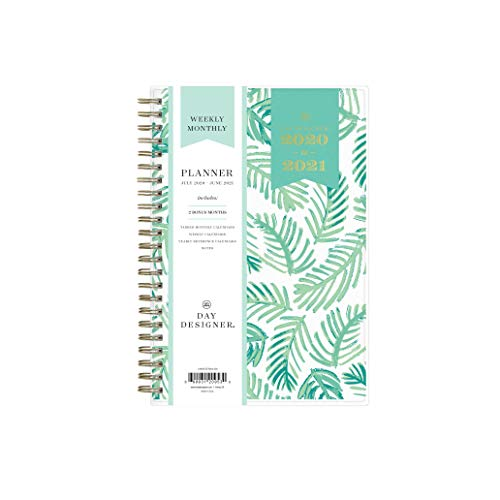 Day Designer for Blue Sky 2020-2021 Academic Year Weekly & Monthly Planner, Flexible Cover, Twin-Wire Binding, 5' x 8', Palms