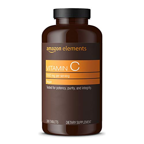 Amazon Elements Vitamin C 1000mg, Supports Healthy Immune System, Vegan, 300 Tablets, 10 month supply