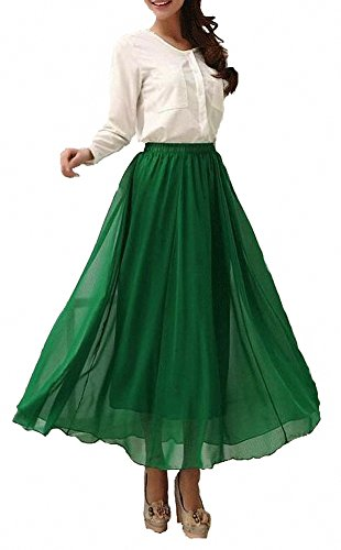 Afibi Womens Chiffon Retro Long Maxi Skirt Beach Ankle Length Skirt (X-Large, Green)