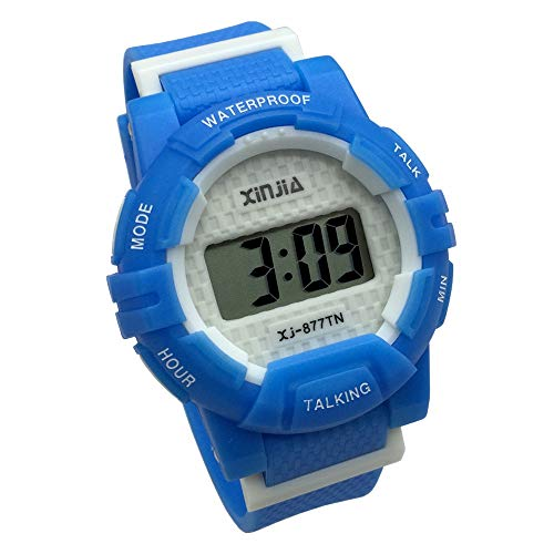 English Talking Wrist Watch Electronic Sports Watches with Alarm, with Blue Ruber Strap