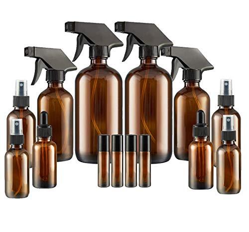 Glass Spray Bottle, SXUDA Amber Glass Spray Bottles Set Roller Bottles, Cleaning Products or Aromatherapy (16OZ, 8OZ, 4OZ, 2OZ, 2OZ Dropper Bottle) x 2, 10 ml Roller Bottle x 4