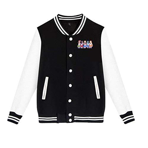 Kemeicle Unisex Men Women Baseball Jacket Newest Sailor Moon Silhouette Sportwear Long Sleeve Varsity Jackets XL Black