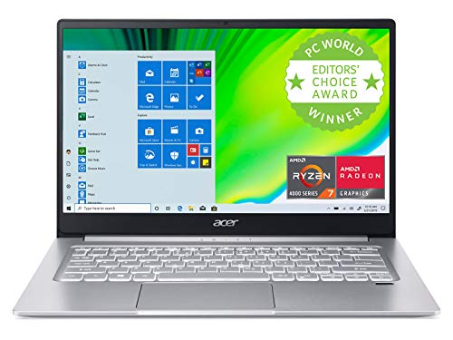 Acer Swift 3 Thin & Light Laptop, 14' Full HD IPS, AMD Ryzen 7 4700U Octa-Core with Radeon Graphics, 8GB LPDDR4, 512GB NVMe SSD, Wi-Fi 6, Backlit KB, Fingerprint Reader, Alexa Built-in