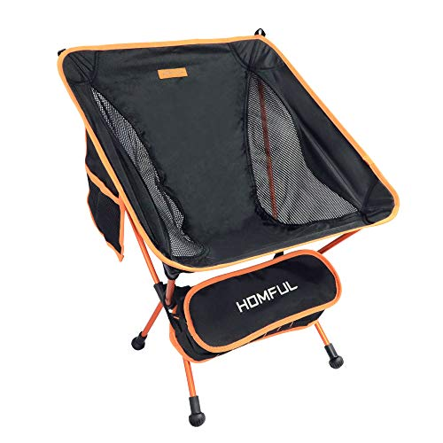 HOMFUL Camping Chair,Ultralight Portable Backpacking Chairs with Storage Bag Folding Chair for Outdoor,Camping,Hiking,Picnic,265lbs Capacity(Black)