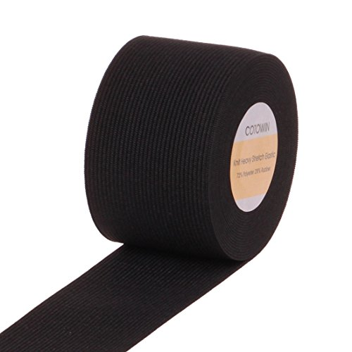 COTOWIN 2-Inch Wide Black Knit Heavy Stretch High Elasticity Elastic Band 5 Yards