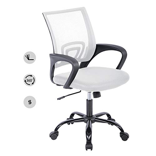 HCB Office Chair, Ergonomic Upgraded Desk Chair, Executive Swivel Computer Chair with Lumbar Support for Home, Office(White)