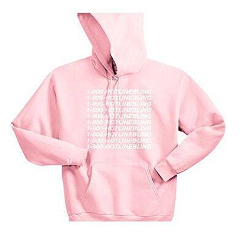 1-800 Hotline Bling Hooded Fleece Autumn Winter Hoodie Sweater (Large, Pink)
