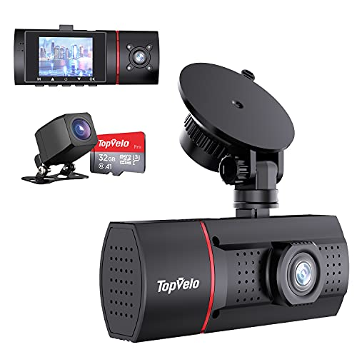 """Topvelo Dash Cam Front and Rear Inside, 1080P 3 Channel Dash Camera for Cars, 2"""" LCD Display Car Camera with SD Card, IR Night Vision, Parking Monitor, for Taxi Driver"""