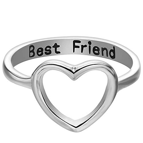 Silver Rose Gold Open Heart Best Friends Promise Ring Graduation Gift (Silver, 7)