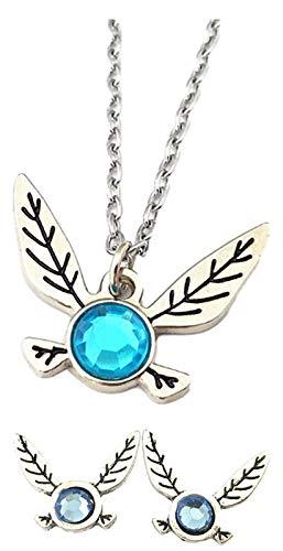 EC Trading Legend of Zelda Navi Fairy Pendant Necklace and Stud Earrings Set