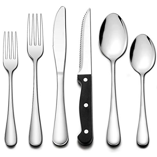 Wildone 24-Piece Flatware Set with Steak Knives, Stainless Steel Silverware Cutlery Set Service for 4, Tableware Eating Utensils Include Knives/Forks/Spoons, Mirror Polished, Dishwasher Safe