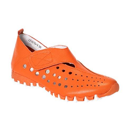 LITFOOT LF9010-3 Comfy Women's Leather Shoes (Orange, Numeric_9)