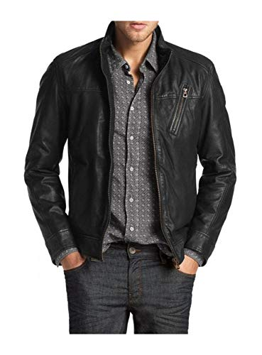 Laverapelle Men's Genuine Lambskin Leather Jacket (Black, Extra Large, Polyester Lining) - 1501210