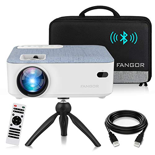 FANGOR HD Bluetooth Projector, 2021 upgraded Portable LCD Projector with Carrying Bag and Tripod, Compatible with Laptop, TV Stick, Roku, PS4, Xbox, Full HD 1080P Supported