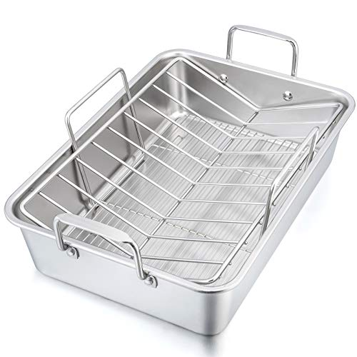 15¼' Roaster Roasting Pan with Baking Rack and V-shaped Rack, P&P CHEF Stainless Steel Rectangular Lasagna Pan with Handles for Turkey Chicken, Heavy Duty & Healthy & Dishwasher Safe, 3 Pieces
