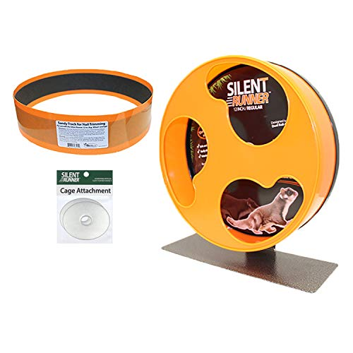 Exotic Nutrition Silent Runner 12' Regular Wheel + Sandy Track + Cage Attachment - Pet Exercise Wheel Package Set - for Sugar Gliders, Female Rats, Hamsters, Mice and Other Small Pets