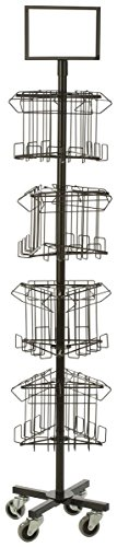 Portable Magazine Display Rack, 12 Pockets, Spinning Tiered Holders (Black Steel Wire)