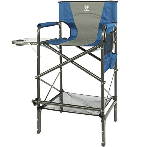 EVER ADVANCED Folding Camping Tall Directors Chair Quad Padded, Heavy Duty Supports 300lbs, Portable Bar Height Makeup Artist Chair with Side Table,Storage Pocket&Footrest for, Patio,Lawn