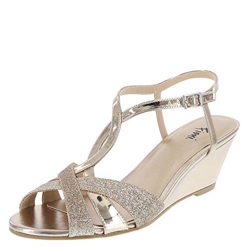 Fioni Champagne Shimmer Women's Grace Low-Heel Wedge 10 Wide