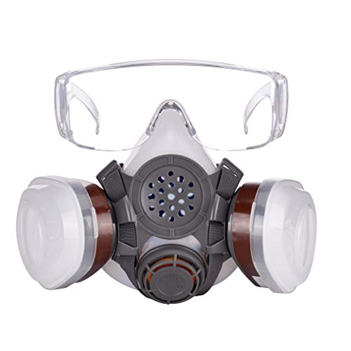 Safety Mask Industrial Gas Chemical Paint Pesticide Dustproof Breathing Respirator Mask with Goggle,Medium