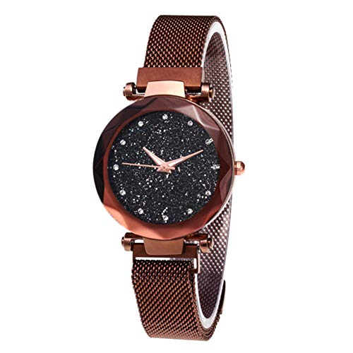 horen Starry Sky Dial Diamond Cutting Round Dial Wrist Watches,Fashion Wrist Watch with Magnetic Mesh Band Lady Quartz Waterproof Watch