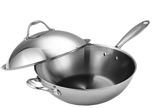 Cooks Standard Stainless Steel Multi-Ply Clad Wok, 13-Inch, Silver