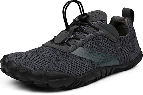 WHITIN Men's Trail Running Shoes Minimalist Barefoot 5 Five Fingers Wide Width Toe Box Size 11 Gym Workout Fitness Low Zero Drop Male Sneakers Treadmill Free Athletic Ultra Grey