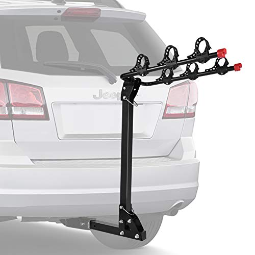 FIVKLEMNZ 3 Bike Hitch Racks, Foldable Bicycle Carrier Racks, Suitable for Trailer, Trucks, SUV