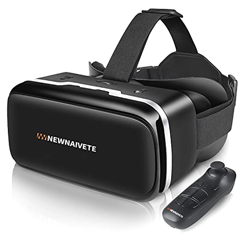 Newnaivete VR Headset with Remote Controller, Virtual Reality Headset Compatible with 4.7'-6.53' iPhone & Android Phone, Eye Protected Adjustable 3D VR Glasses Goggles Gift for Kids and Adults