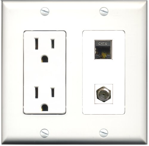 RiteAV - 15 Amp Power Outlet and 1 Port Shielded Cat6 Ethernet and 1 Port Coax Cable TV- F-Type Decorative Type Wall Plate - White