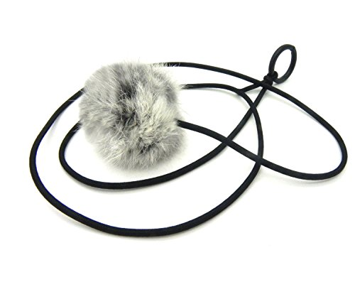 Kats'N Us Bouncy Ball Rabbit Fur String Cat Toy Gray
