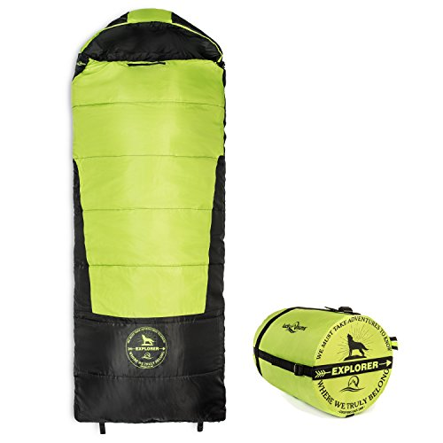 Lucky Bums Youth Explorer 30F/-1C Temperature Rated Envelope Style Sleeping Bag, Compressing Carry Bag Included, Green