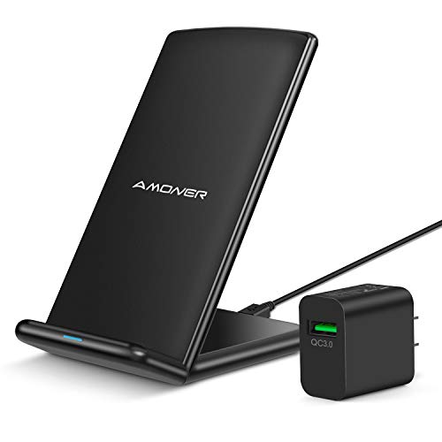 Wireless Charger, Amoner Qi-Certified 10W Wireless Charging Stand with 18W QC 3.0 Adapter Compatible with Galaxy S10/S9/S9+/S8/S8+, iPhone 11/11 Pro/11 Pro Max/Xs Max/Xs/XR/X/8/8Plus