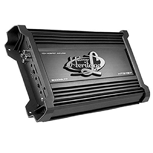 Lanzar Amplifier Car Audio, Amplifier Monoblock, 1 Channel, 3,000 Watt, 2 Ohm, MOSFET, RCA Input, Bass Boost, Mobile Audio, Amplifier for Car Speakers, Car Electronics, Crossover Network (HTG157), BLACK