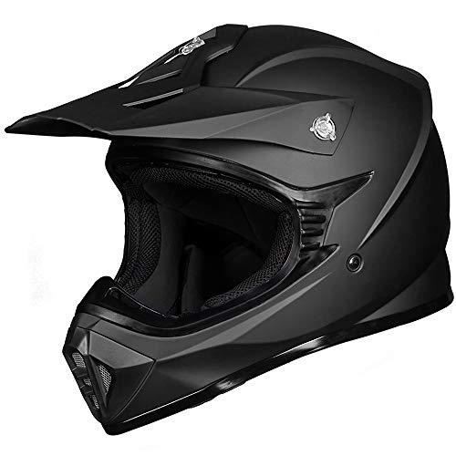 ILM Adult ATV Motocross Dirt Bike Motorcycle BMX MX Downhill Off-Road MTB Mountain Bike Helmet DOT Approved (Matte Black, Adult-L)