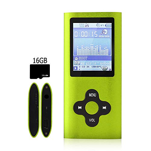 G.G.Martinsen MP3 Player, MP4 Player, Digital Music Player, Support Photo Viewer, Mini USB Port 1.8 LCD, Media Player, Stylish MP3/MP4 Player-Green+Black