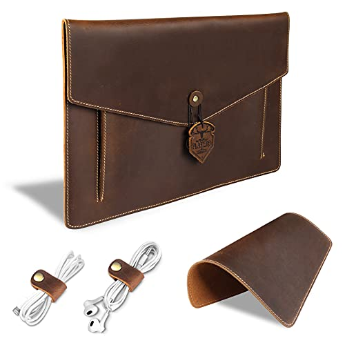 PLATERO Leather Laptop Sleeve 13 inch Compatible with MacBook Pro 2019, MacBook Air (2018-2019), Envelope Design, Bonus Mouse Pad & Cord Organizer