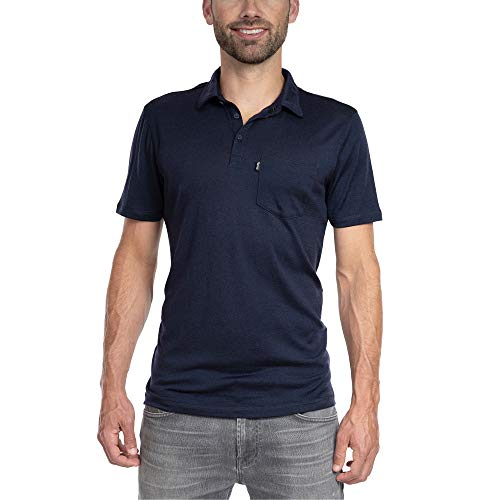 Woolly Clothing Men's Merino Wool Polo Shirt - Ultralight - Wicking Breathable Anti-Odor S NVY