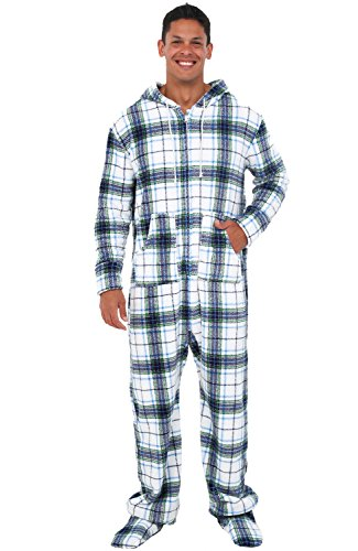 Alexander Del Rossa Men's Warm Fleece One Piece Footed Pajamas, Adult Onesie with Hood, Small Blue on White Plaid (A0320P06SM)