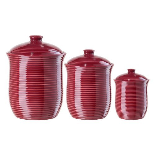 Oggi Cranberry Red Ribbed Ceramic Food Storage Canisters, Set of 3